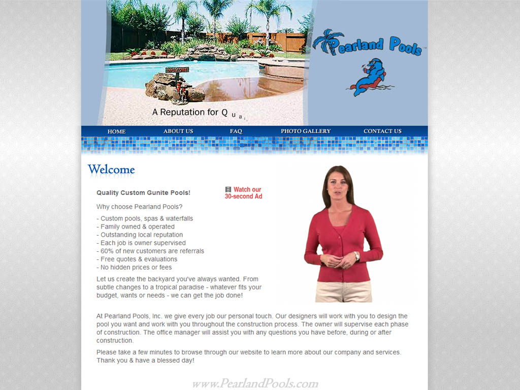 Pearland Pools homepage screenshot